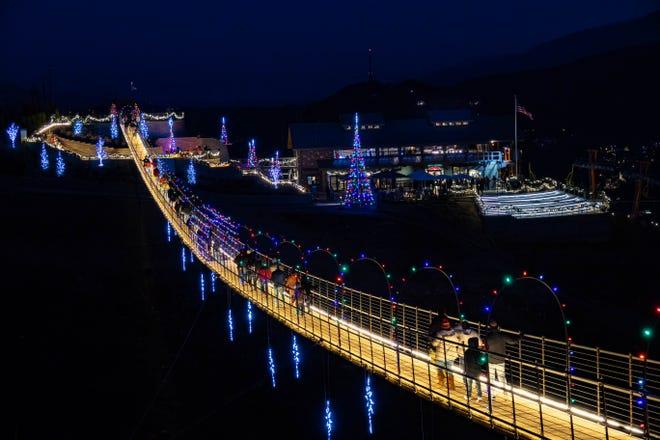 Lights Over Gatlinburg holiday event at the Gatlinburg SkyLift Park in Gatlinburg, Tennessee.