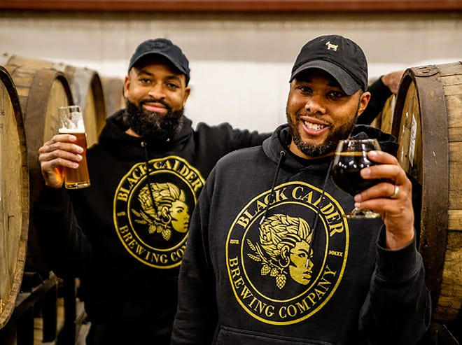 Jamaal Ewing, left, and Terry Rostic of Black Calder Brewing Co.