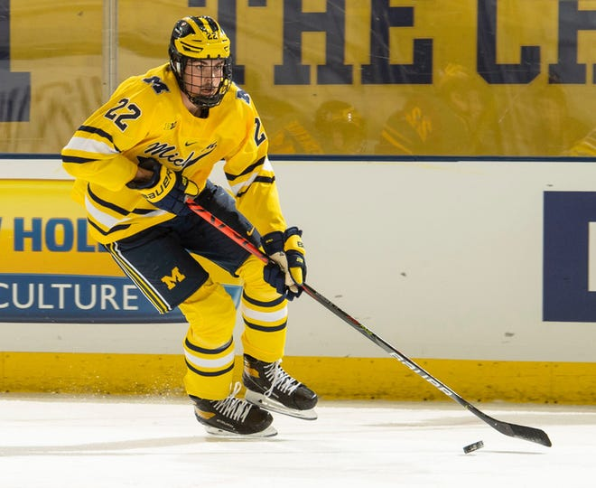Michigan's Owen Power scored in the second period, tying the game 1-1 against Wisconsin on Sunday. The Badgers went on to win 3-2.