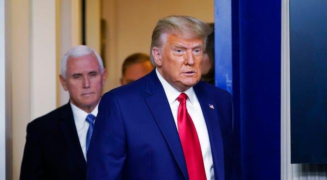 Presiden Donald Trump keluar untuk berbicara di Brady Briefing Room di Gedung Putih, Selasa, 24 November 2020, di Washington saat Wakil Presiden Mike Pence mengawasi.