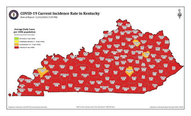 The COVID-19 current incidence rate map of Kentucky as of Monday, Nov. 23.