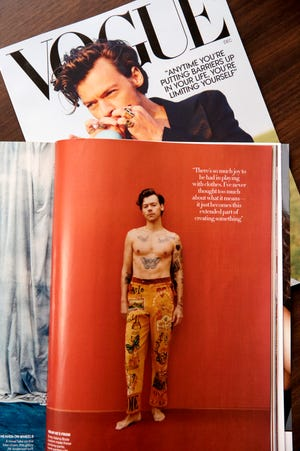 Harry Styles wears a pair of Bode Senior Cords in the December issue of Vogue magazine.