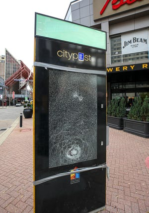 Damage to one of the Citypost kiosks at the north end of Fourth Street Live! on Tuesday, November 24, 2020.