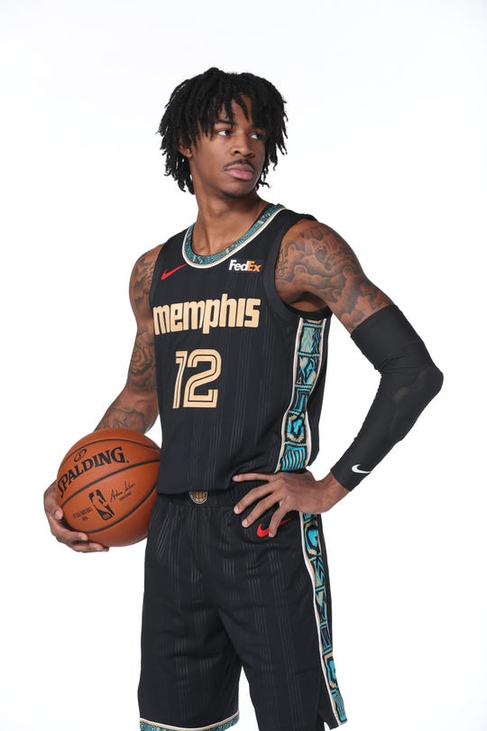 MEMPHIS, TN - NOVEMBER 12: Ja Morant#12 of the Memphis Grizzlies poses for a portrait on November 12, 2020 at FedExForum in Memphis, Tennessee.  NOTE TO USER: User expressly acknowledges and agrees that, by downloading and or using this photograph, User is consenting to the terms and conditions of the Getty Images License Agreement. Mandatory Copyright Notice: Copyright 2020 NBAE (Photo by Joe Murphy/NBAE via Getty Images)