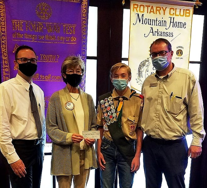 Pictured above are Rotarian of the Day Tom Kiley, President Renae Schocke, Troop 156 Eagle Scout Zane Darracq and his father Darren Darracq.