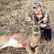 Ashley Gaines from Old Hickory killed this 8-point buck on Saturday in Humphreys County on her first solo hunt.