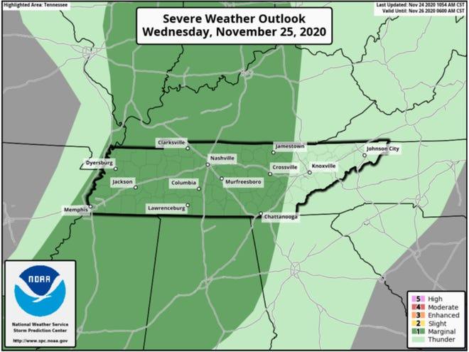 Wednesday, November, 25, 2020, severe weather outlook
