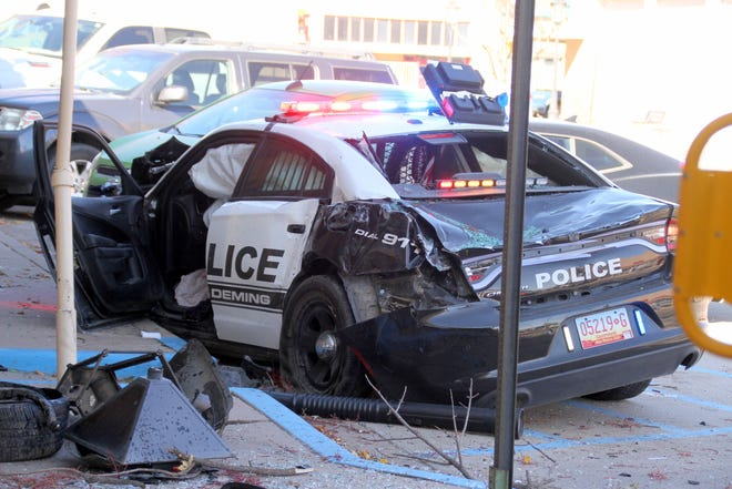 The Deming police cruiser involved in Tuesday's accident with an ambulance.