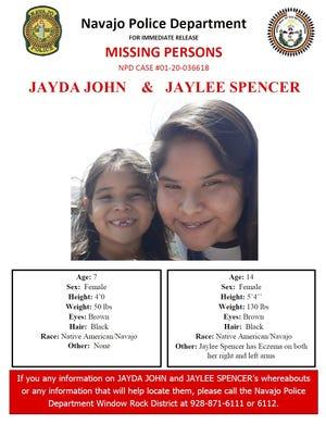 Flyer of missing sisters Jayda John, 7, and Jaylee Spencer, 14.