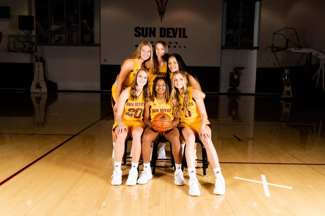Arizona State freshman Sydney Erikstrup, front row right, will play against her twin sister Laura on Sunday when the Sun Devils hosts San Diego.