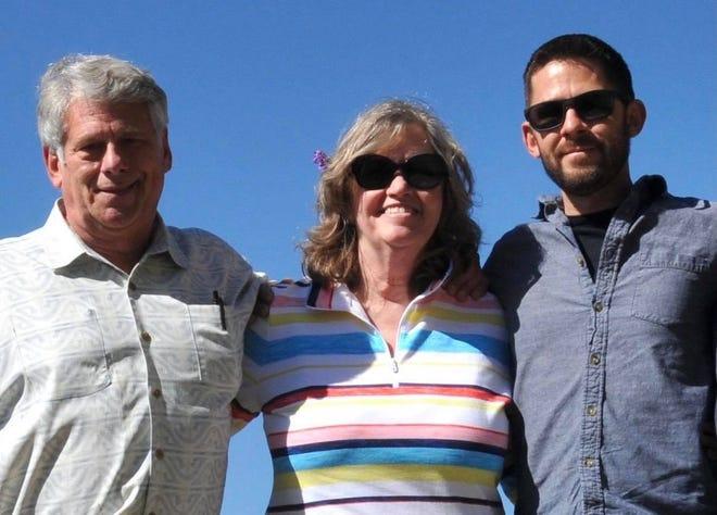 Brent Boynton, left, with his wife Patricia Boynton and son Nicholas Boynton-Steele.