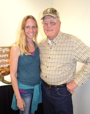 Meredith and John Higley at his 80th birthday party in Redding, Calif., in April 2017.