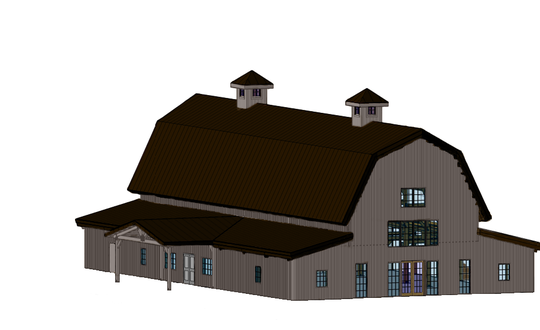 The Riverview Barn will be a gambrel-style barn construsted by R.E.S. Construction. It is planned to be finished by summer 2021.