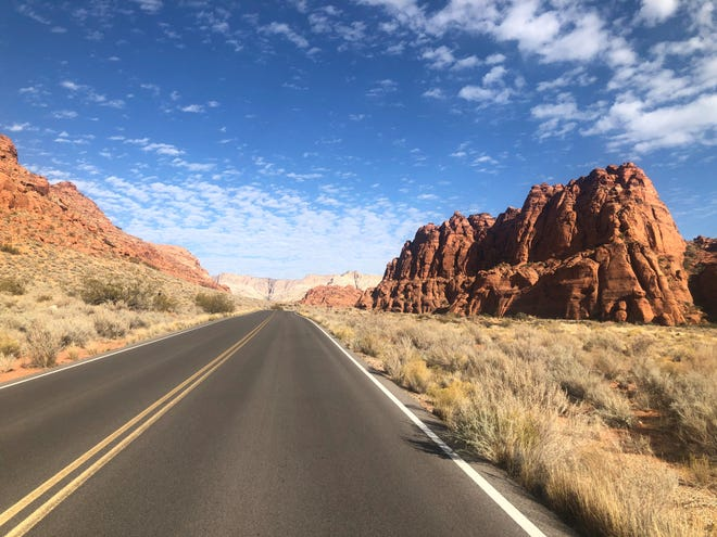 A typically stunning blue-sky landscape just past the entrance to St. George's Snow Canyon State Park.