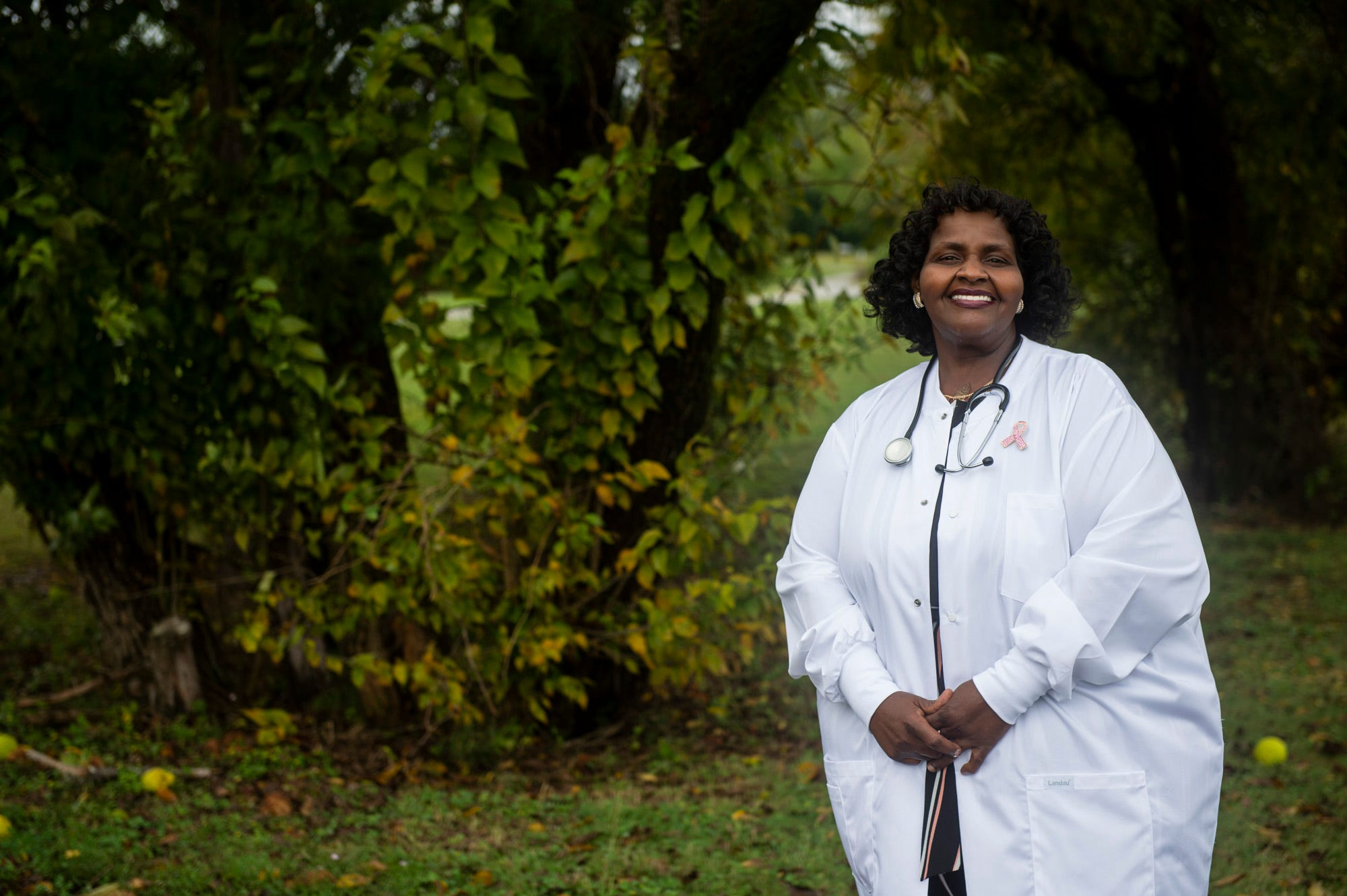 Nurse Linda Gilchrist poses for a portrait in Montgomery, Ala., on Sunday, Oct. 11, 2020.