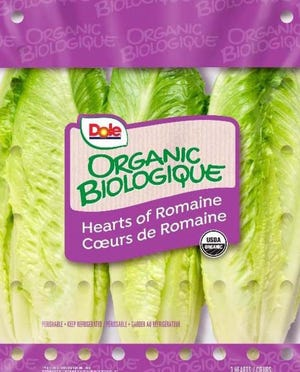 Three-pack of Dole™ Organic Romaine Hearts.