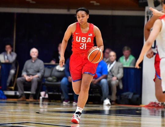 United States guard Allisha Gray advances the ball against Japan during an international exhibition basketball game at the Charles E. Smith Center at George Washington University on Sept. 10, 2018.