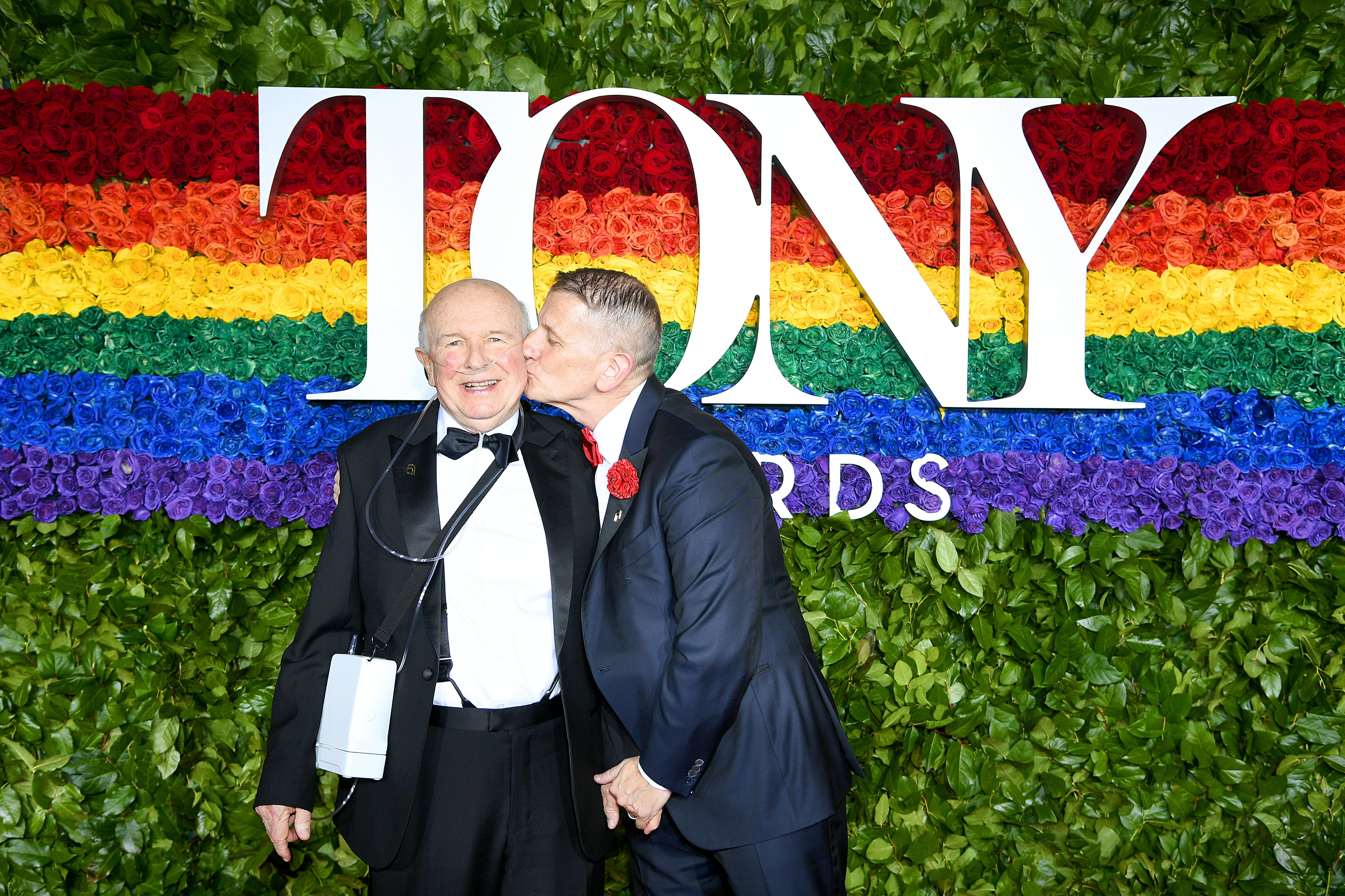 Terrence McNally and Tom Kirdahy attend the 73rd annual Tony Awards at Radio City Music Hall in New York City.