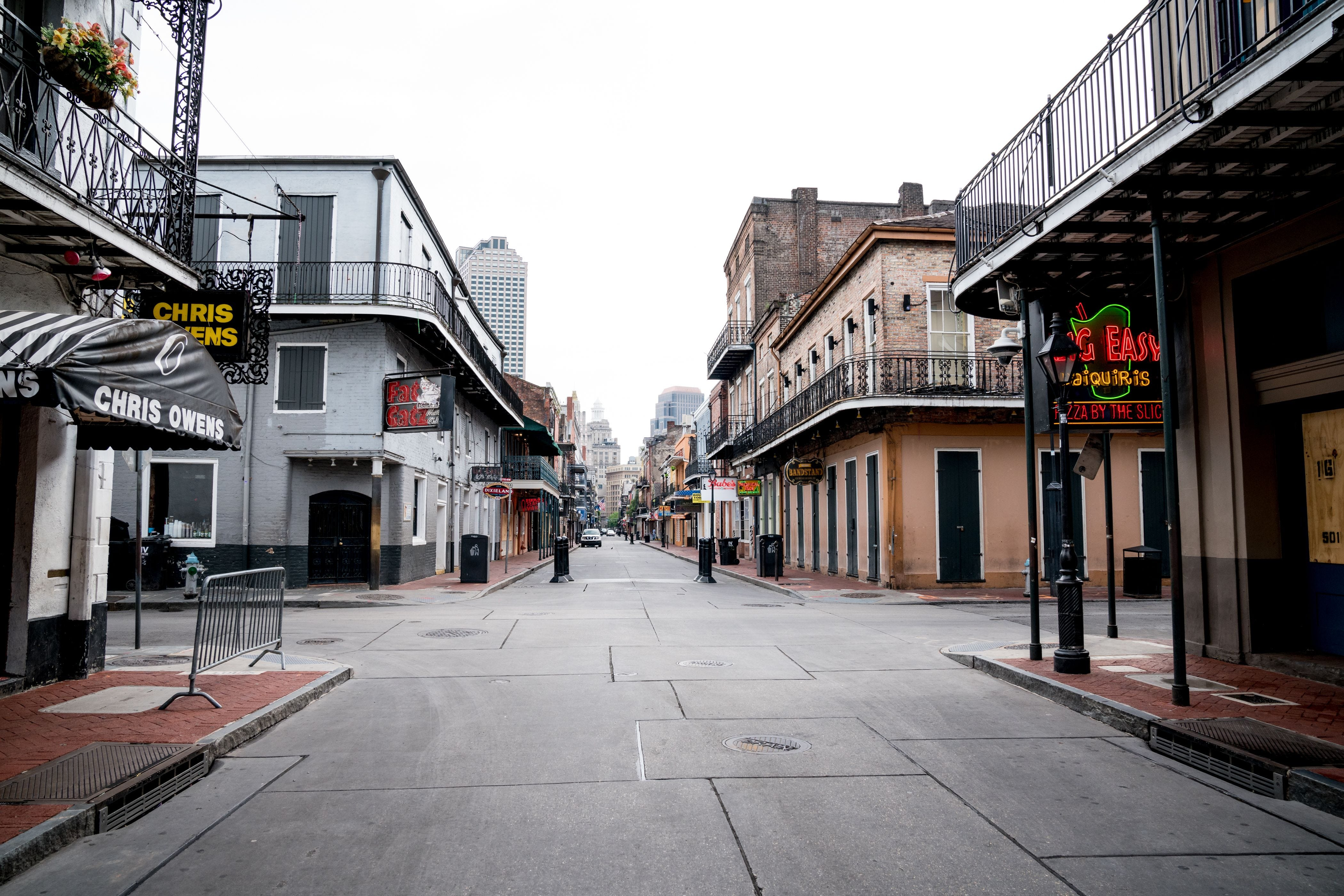 Typically filled with people, Bourbon Street in New Orleans is nearly empty on the first day of Jazz Fest 2020 on April 23.