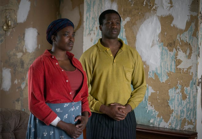 "Wunmi Mosaku and Ṣọpẹ Dìrísù are Sudanese refugees who find horrors after they arrive in England in ""His House."""