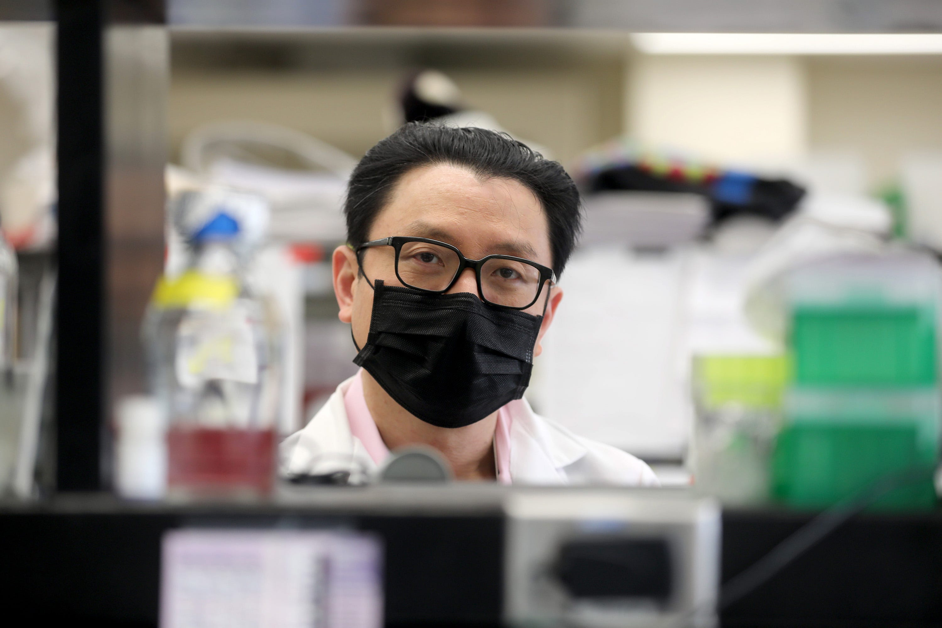 Benhur Lee, Professor of Microbiology at the Icahn School of Medicine at Mount Sinai in New York City, poses for a portrait in his lab on Sept. 29, 2020. Lee has been researching the COVID-19 virus since January. Through August, his lab worked round the clock on nothing but COVID-19. They are now doing research on COVID-19 as well as other forms of the coronavirus.