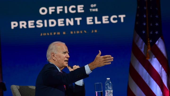 President-elect Joe Biden speaks during a virtual meeting with the United States Conference of Mayors on November 23, 2020 in Wilmington, Delaware.