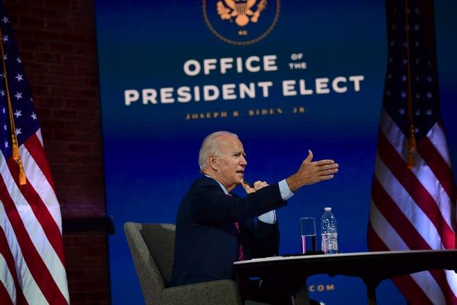 Presiden terpilih Joe Biden berbicara selama pertemuan virtual dengan Konferensi Walikota Amerika Serikat pada 23 November 2020 di Wilmington, Delaware.