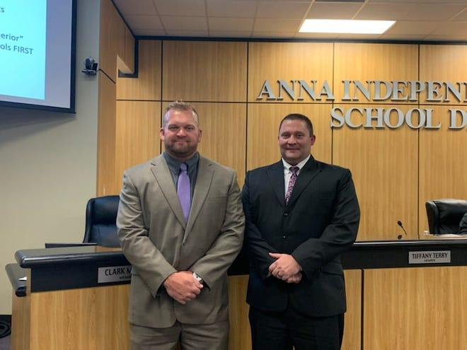 Trustees Clark Miller (left) and Joshua Carpenter were officially sworn into for their recently elected terms during the Anna Independent School District Nov. 19 school board meeting. This will be the second term for Miller while Carpenter begins his first.