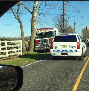 A Vincentown Fire Truck collided with a tree on Tuesday, Nov. 24.