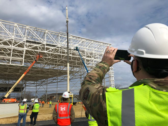 Officials celebrated the steel-topping of the new 50,000 square-foot, two-bay KC-46 aircraft hangar at Joint Base McGuire-Dix-Lakehurst on Wednesday, Nov. 25.