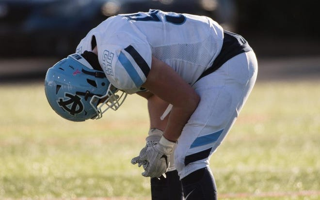 Central Valley offensive lineman Josh Campbell reacts to the end of the 2019 PIAA Class 3A championship, which Central Valley lost 21-14. Campbell and the Warriors are back in the final this year, hoping for a different result.
