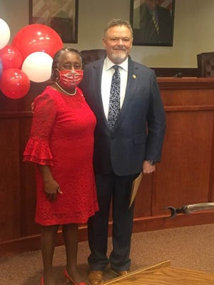 Mayor Caroylyn Todd is pictured here with Clerk of Court Jeff Skidmore