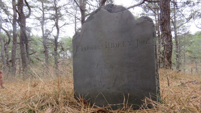 The lonely smallpox grave of Thomas Ridley in North Truro.