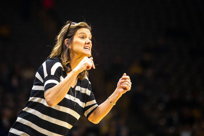 Missouri head women's basketball coach Robin Pingeton calls out to players during an NCAA Tournament game against Drake on March 22, 2019, at Carver-Hawkeye Arena in Iowa City, Iowa.