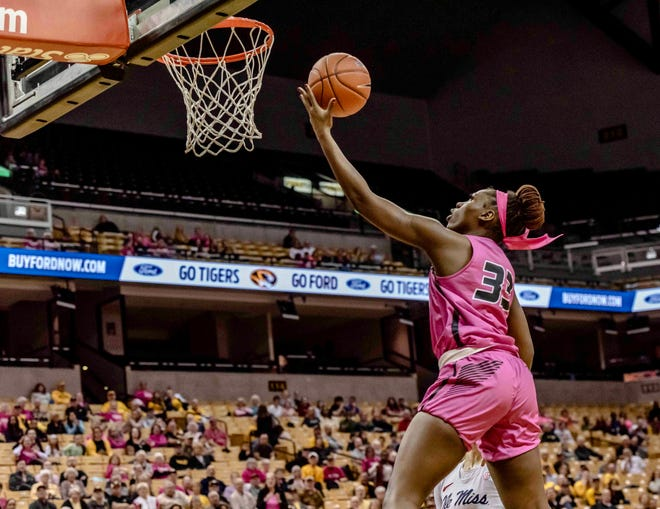 Missouri's Aijha Blackwell (33) rises for a layup during a game against Mississippi on Feb. 23 at Mizzou Arena.