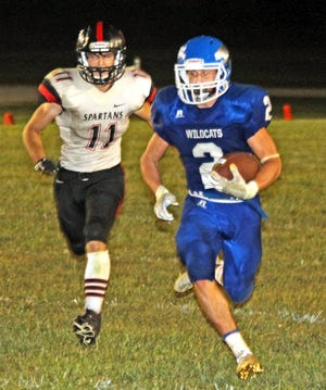 Senior Chase Neptune of the 2020 Southwest Livingston High School football Wildcats strides into the South Holt/Nodaway-Holt end  zone after catching a long pass in the fourth quarter of SLHS' 70-38 home triumph on Sept. 4. The 2019 All-State receiver and defensive back, who has missed several late-season and postseason games with a nagging injury, returned to play briefly in last Friday's 52-22 state semifinals win over Drexel/Amoret: Miami and hopes to be available for this Saturday's state-title game against North Andrew.