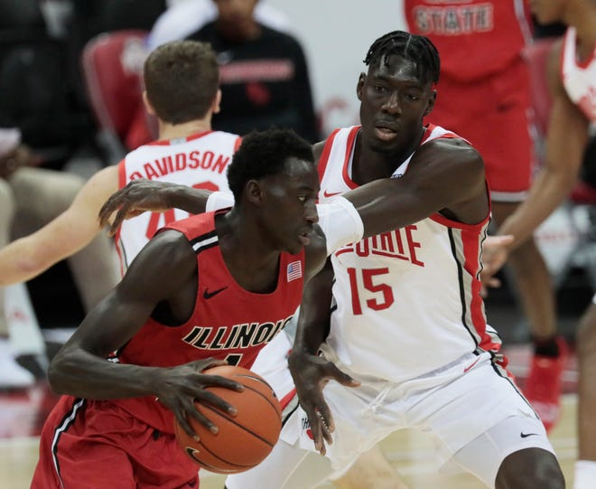 Ohio State Buckeyes center Ibrahima Diallo (15) defends as Illinois State Redbirds forward Abdou Ndiaye (4) dribbles during the second half of a NCAA Division I men's basketball game between the Ohio State Buckeyes and the Illinois State Redbirds on Wednesday, Nov. 25, 2020 at Value City Arena in Columbus, Ohio.