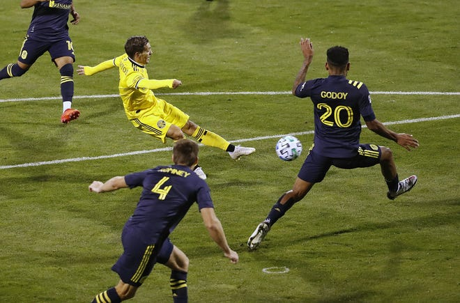 Crew winger Pedro Santos scores a goal against Nashville in the teams' only meeting, a 2-0 Crew victory on Sept. 19 in Mapfre Stadium.