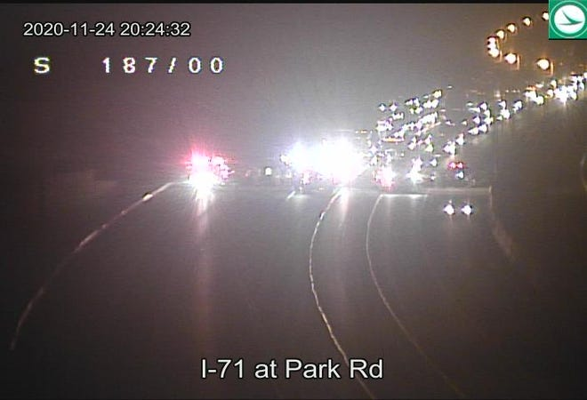 ODOT camera shows the stopped traffic in the area of Interstate 71 near Polaris Parkway where one person died and another was critically injured in a crash.
