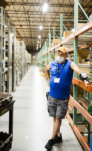 Steven Pierce, who was born deaf, was hired earlier this year by Advance Auto Parts at its distribution center in Delaware. While working there, he uses a radio frequency device on his wrist to locate parts from inventory.