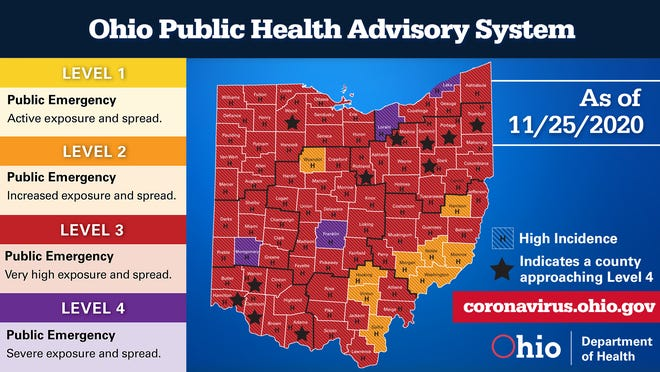 The Ohio Department of Health's latest color-coded map released Wednesday showing the spread of COVID-19 and the warning levels for each county.