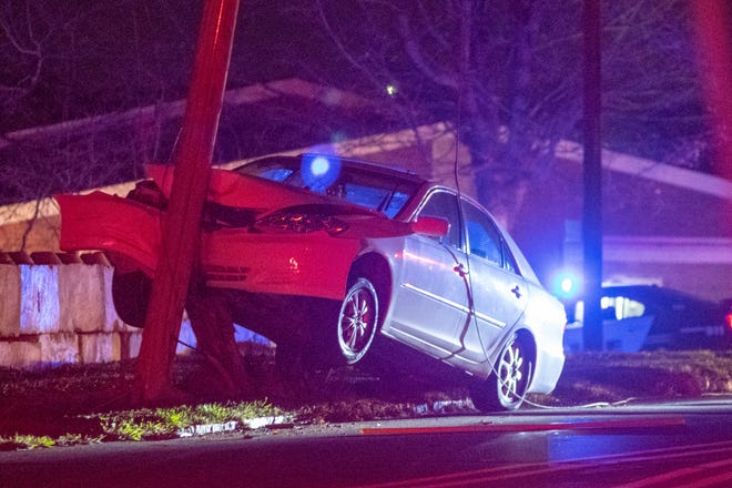 An accident knocked out power for several blocks overnight after a vehicle struck a telephone pole.