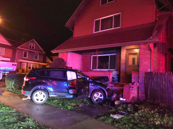 Three women were injured in a two-vehicle crash on Tuesday at East 28th and German streets in Erie. After colliding with a Nissan Murano, this Ford Escape SUV crashed into a home in the 2700 block of German Street.