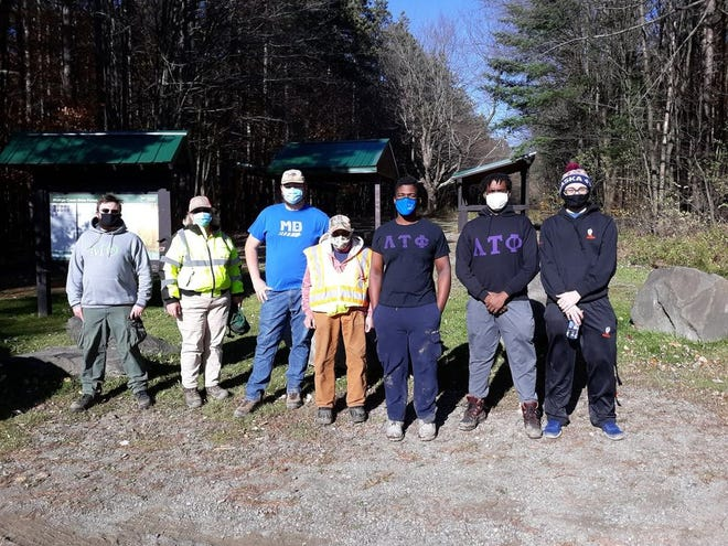 Alfred State students recently assisted the DEC with trail maintenance at Phillips Creek State Forest. Pictured from left to right are Stephen Ruffalo; Pauline Burnes, volunteer coordinator; Patrick Salzer; Gail Bartas, volunteer coordinator; Markel Edwards; Zacchaeus Robinson; and Carson Gage.