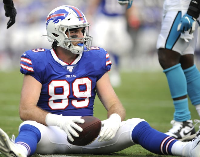 Buffalo Bills tight end Tommy Sweeney hits the turf against the Carolina Panthers during an Aug. 16, 2019, preseason game in Charlotte, North Carolina.