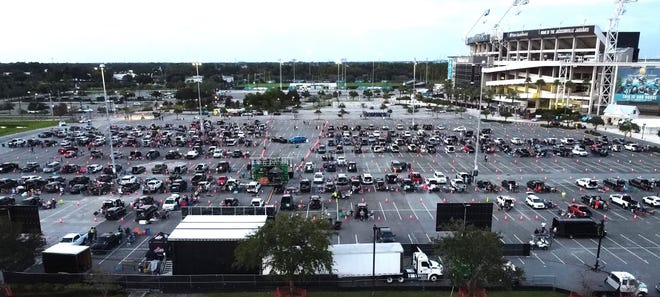 The city-owned parking lot called Lot J, located near TIAA Bank Field. would be turned into an entertainment district with mid-rise apartment buildings and a luxury hotel if City Council approves a proposed development deal with Jaguars owner Shad Khan and The Cordish Companies.