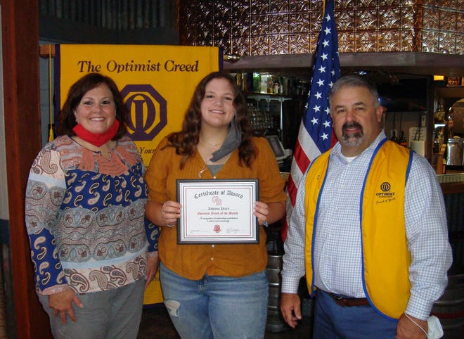 Ashlynn Perry, center, was honored as one of the Glen Rose High School Optimist Students of the Month.