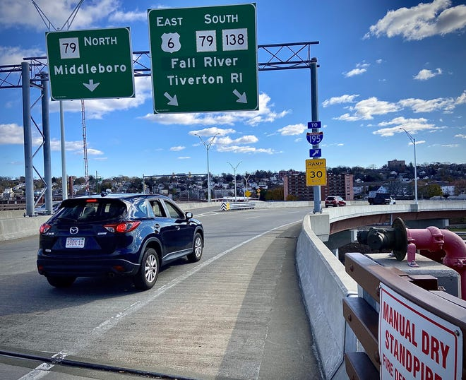 A 30 mph speed limit sign warns drivers on Veterans Memorial Bridge in Fall River to slow down while veering right toward southbound Route 79.