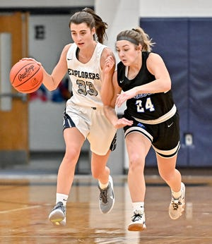 "Hudson's Constance Loring brings the ball ahead against Reveres' Jeanne Hujer during the Explorers' 51-39 home loss to Revere Nov. 24 at Ray ""Buck"" Heyser Gymnasium."