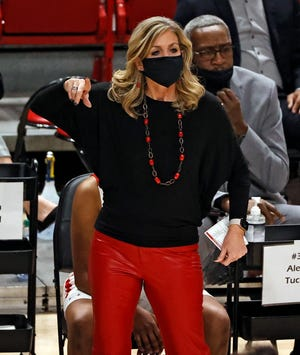 Texas Tech coach Krista Gerlich yells out to her players during a nonconference game Nov. 25 against UTRGV at United Supermarkets Arena. The Lady Raiders are scheduled to host Rice at 6 p.m. Saturday.